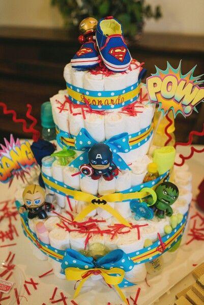 Marvel diaper cake!