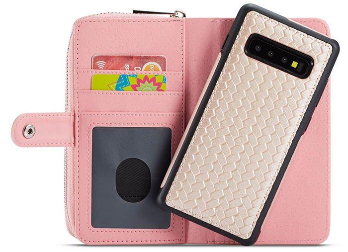 best service ea607 aaa79 BRG Samsung Galaxy S10 Plus Weave Texture Wallet Detachable Case ...
