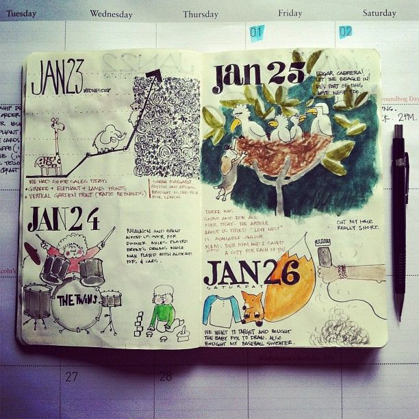 """Gorgeous sketchbook! The post says, """"It's hard to keep up with an illustrated journal/calendar, but totally worth it."""" I agree!"""