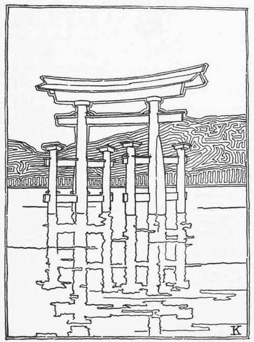 torii gate drawing - 500×671