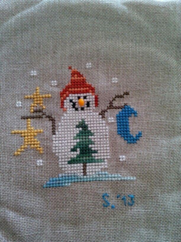 Snow man cross stitch..