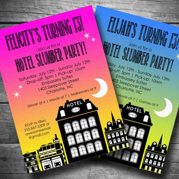 Hotel Birthday Invitation Slumber Party Printable Text Or Email Sleepover Invite