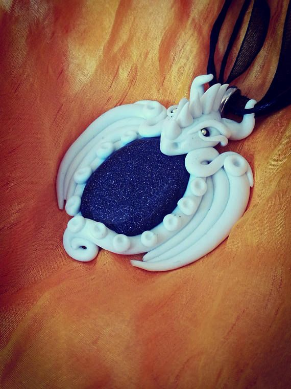 30% SALEWhite Dragon Blue Goldfluss Pendant with polymer clay