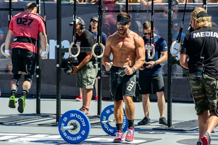 Rich Froning showing some emotion during the mens final of the 2012 Reebok CrossFit Games.
