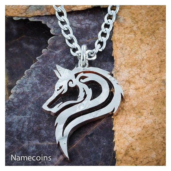 Lone Wolf Necklace, Hand cut Jewelry, US Half Dollar ❤ liked on Polyvore featuring jewelry, necklaces, tribal jewellery, jewel necklace, wolf jewelry, tribal necklace and wolf necklace