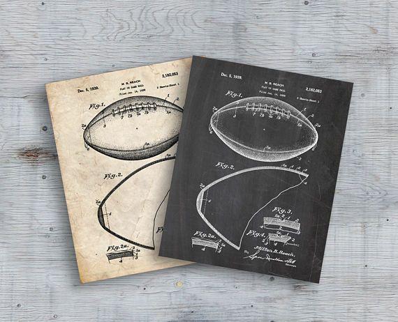 Football Patent Art American Football Patent Football Print