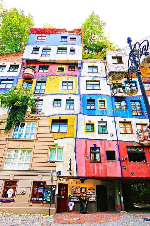 The Hundertwasserhaus,  designed by the famous german architect Hundertwasser in Vienna, Austria - Wien