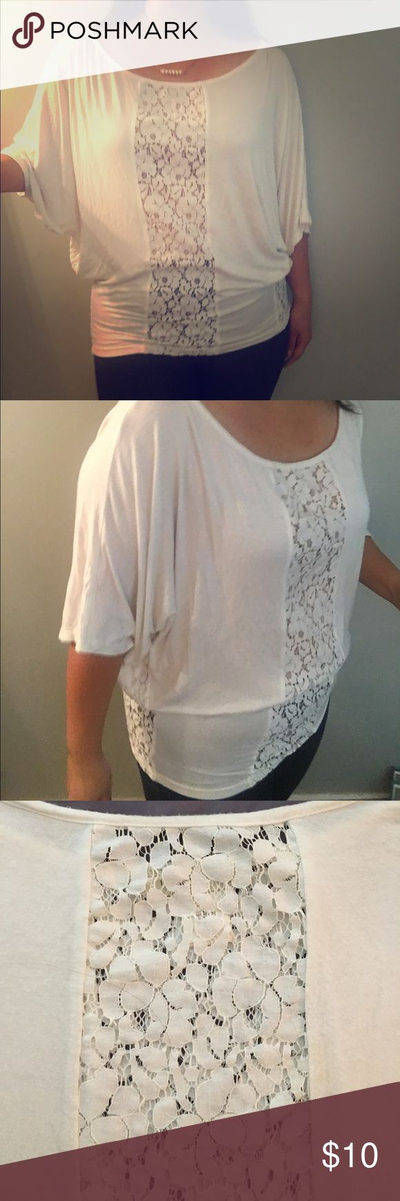 Arden B cream lace dolman top Arden B dolman top with cream lace accents along back, front, and sides. Super soft and comfy material. Wear over cami or nude bra. Some flaws (stains) shown in photos. Beautiful fit, covers all problem areas! Arden B Tops Blouses