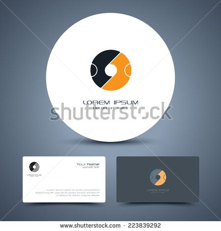 Vector business card template with universal people logo.