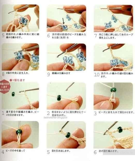 Knitting with Beads hook. Several methods of