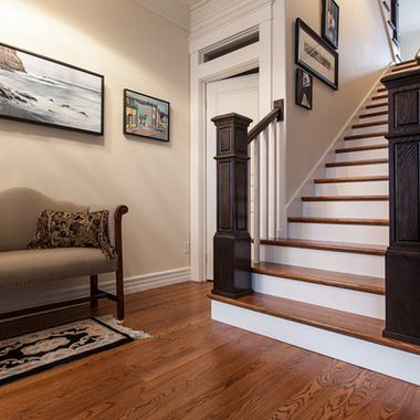 this with stained wood spindles u0026 darker stain on posts and handrail