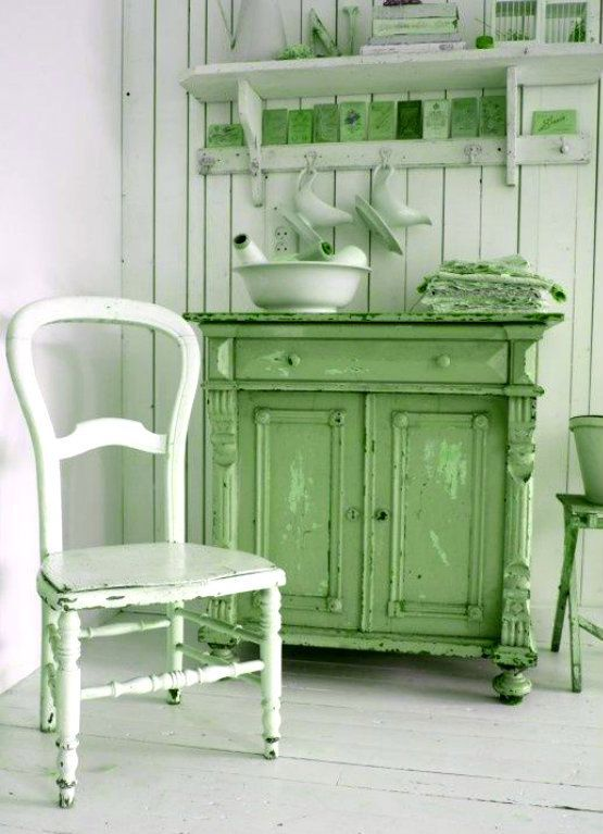 Lily green country cabinet vintage farmhouse booth for Ameublement shabby chic