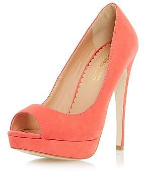 Womens coral court shoe from Dorothy Perkins - £45 at ClothingByColour.com