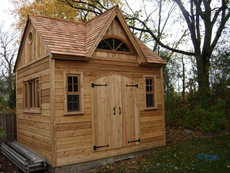 summerwood coppercreek shed completed with rough cedar siding