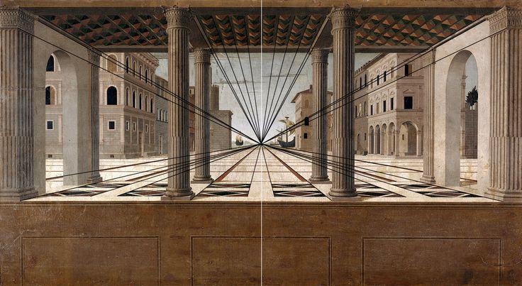 Prospettiva centrale. Punto di fuga al centro del dipinto.