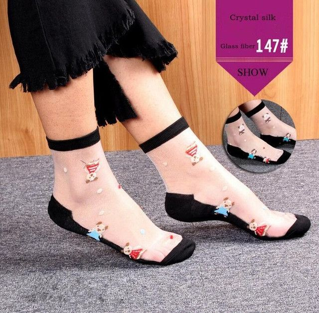 CUHAKCI Women Socks Bamboo Fiber Crystal Glass Silk Transparent embroide Cotton Non slip Soles Wear Multi-color Socks 1 / Double