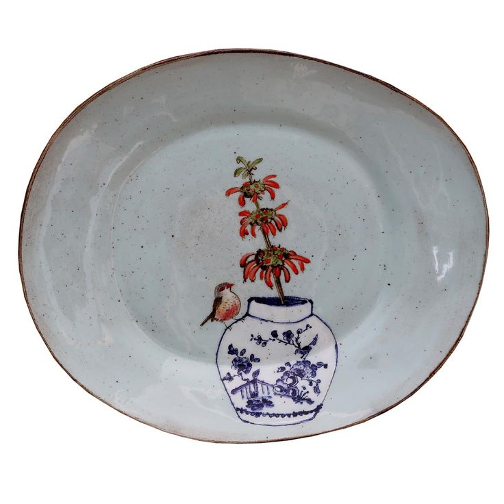 An original ceramic work by Lisa Ringwood entitled: 'Turquoise Common Waxbill and Leonotis branch Oval Platter