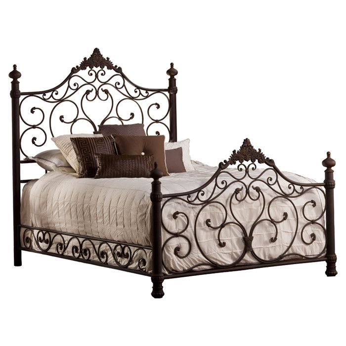 wrought iron bed with open scrollwork and acanthus leaf accents product queen material wrought ironcolor weathered dark