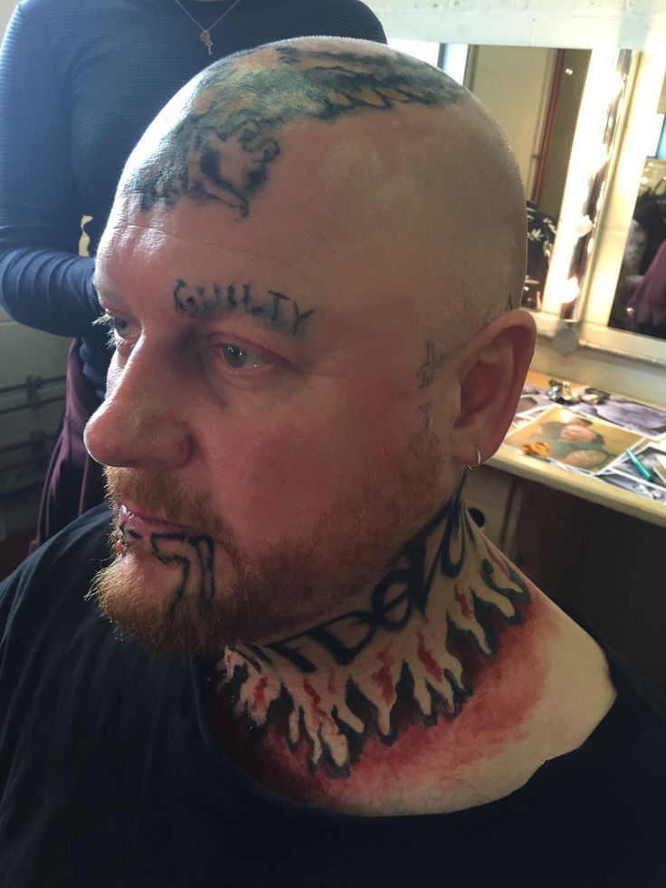 White Supremacist prison tattoos for The Young Vic for Measure for Measure. By myself, assisted by Sascha