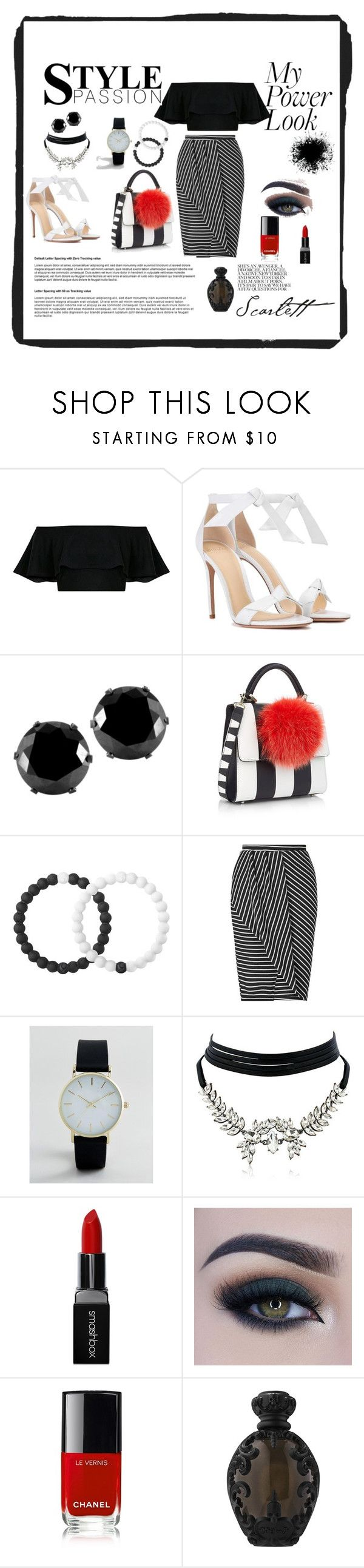 """White and black"" by husejnbasic-belma ❤ liked on Polyvore featuring Alexandre Birman, West Coast Jewelry, Les Petits Joueurs, Lokai, Miss Selfridge, WithChic, Smashbox, Too Faced Cosmetics, Chanel and Kat Von D"