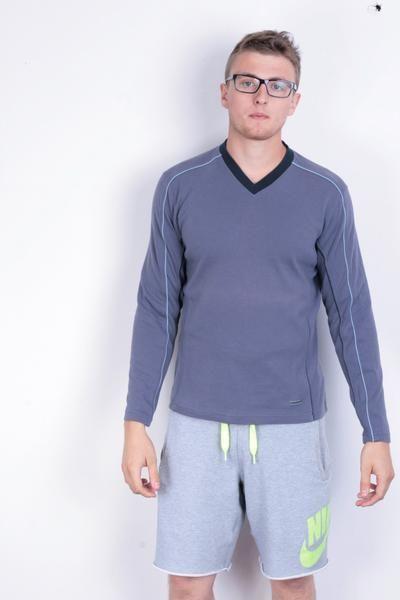 Umbro Mens 42 L Sweatshirt Blue V Neck Cotton - RetrospectClothes