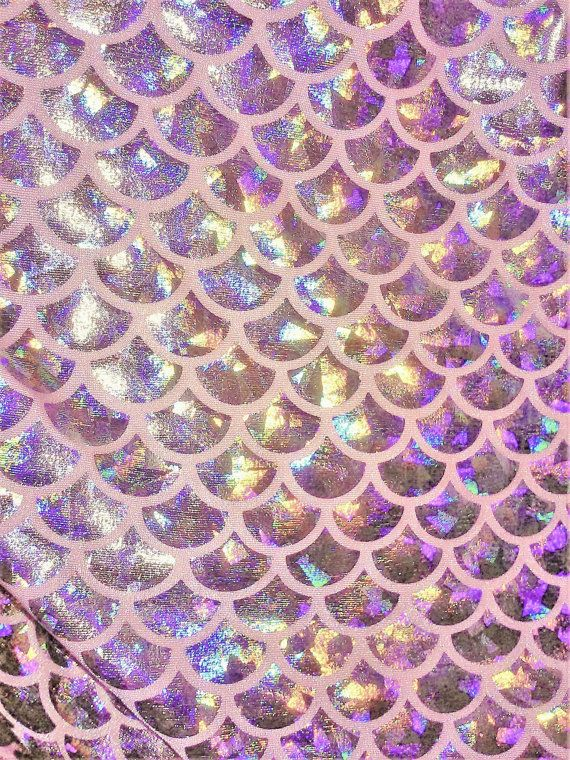 Pink and Silver Mermaid Holographic Spandex Fabric - Medium Size Fish Scale Metallic Shattered Glass Print Stretch Material for Mermaid Tail
