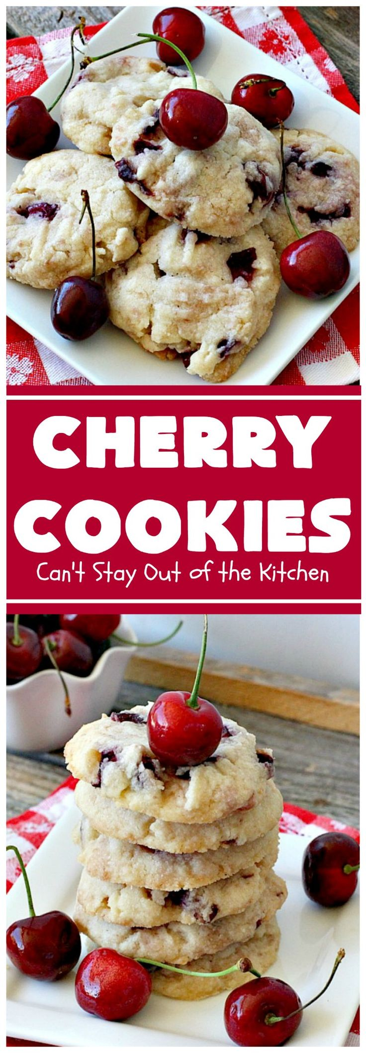 Cherry Cookies | Can't Stay Out of the Kitchen| these fantastic #cookies use fresh #cherries & #almond extract in a #sugarcookie dough. Perfect for summer treats when cherries are in season. #dessert