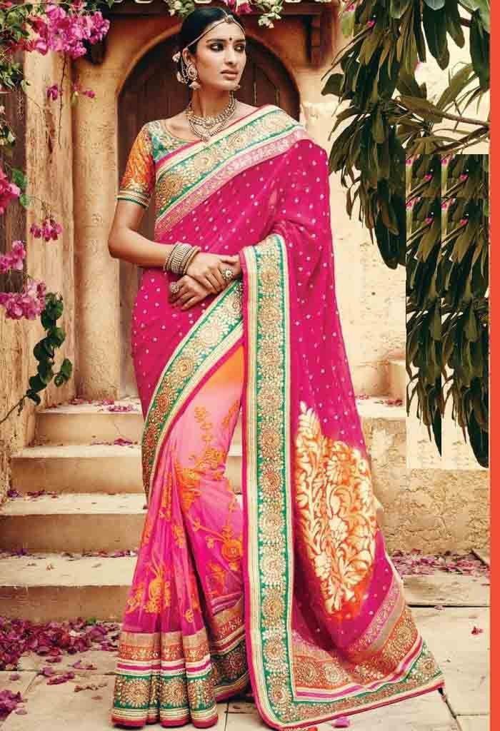 Pink Banarasi Viscous,Net Designer Saree With Heavy Embroidery Work 26