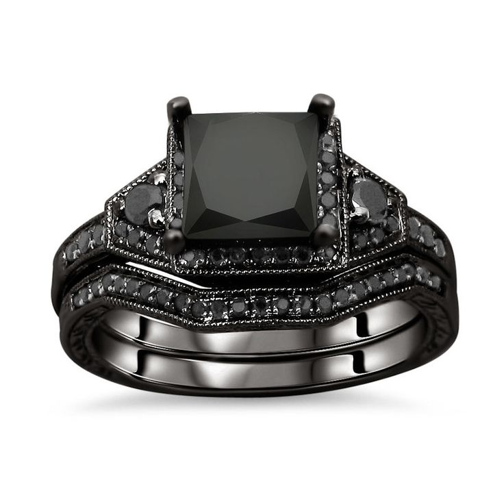 black and white diamond engagement ring 18 karat black gold jewelry click here for ring - All Black Wedding Rings