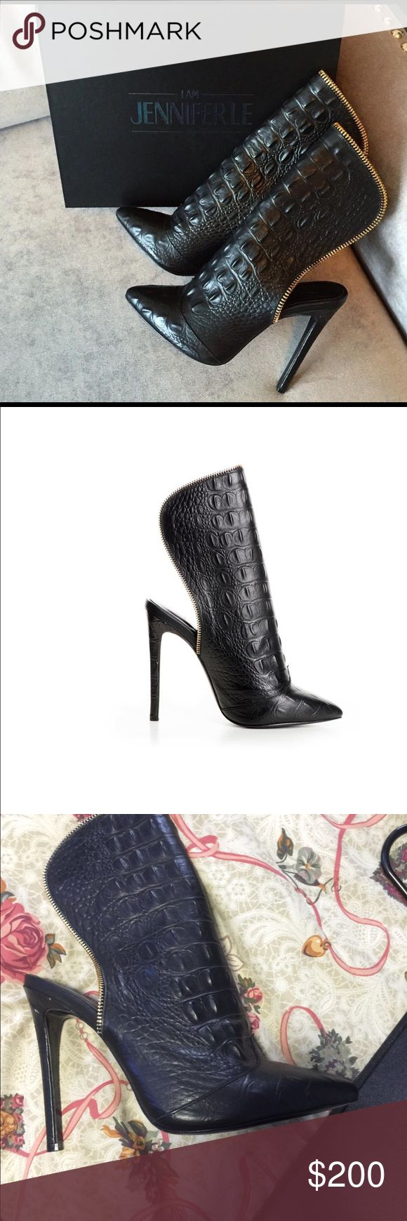 Black Caiman Boots Fabulous Rare never worn  Black Caiman Boot/heels.  One of a kind! Original Box. IAMJENNIFERLE Shoes Ankle Boots & Booties