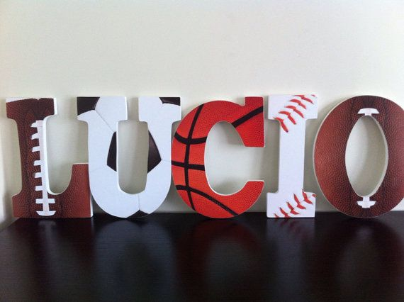 Sports Wooden Letters Nursery Letters Wall by BabeeCakesBoutique, $12.00