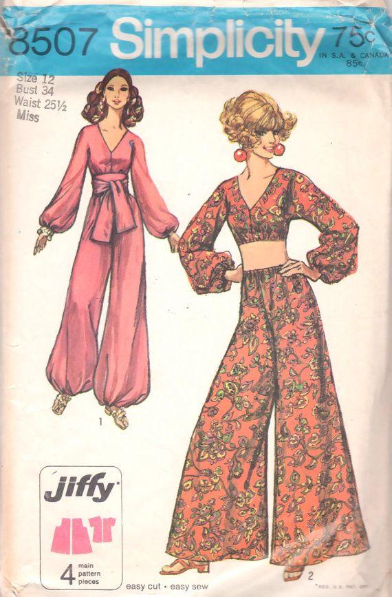 simplicity 8507 1960s jiffy misses harem palazzo pants