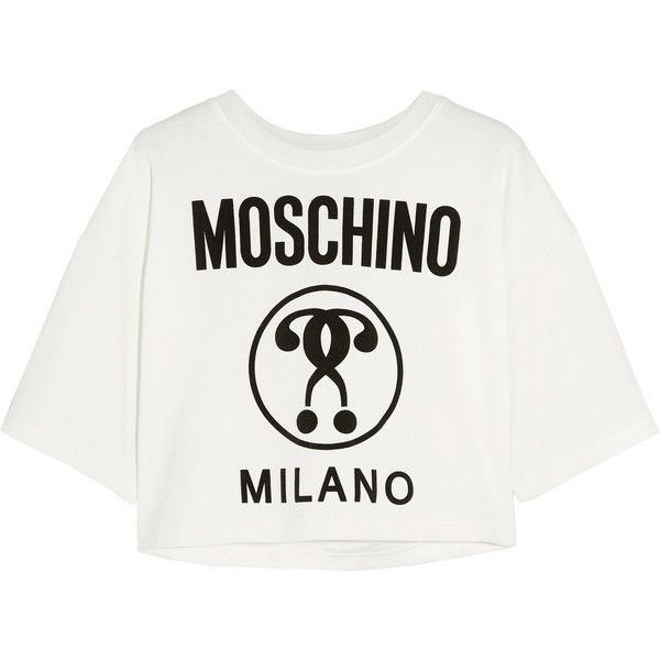 Moschino Cropped printed jersey T-shirt (£285) ❤ liked on Polyvore featuring tops, t-shirts, shirts, tees, white, moschino shirt, crop tee, jersey tee, crop top and boxy crop top