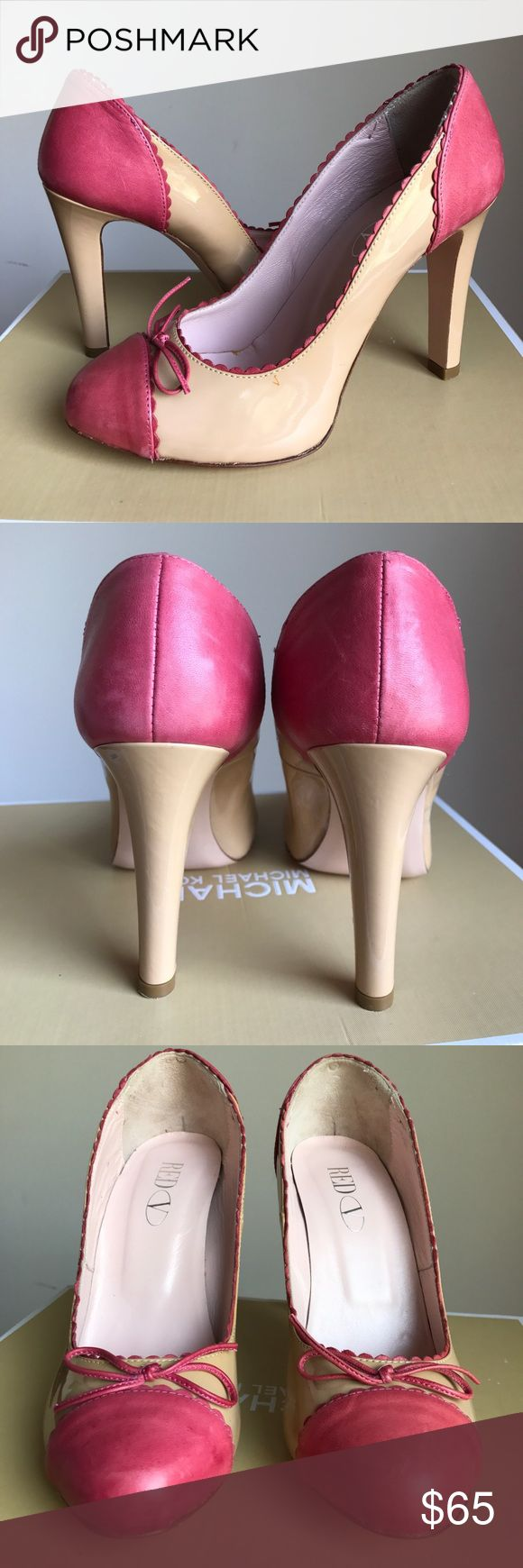 RED Valentino Tan & Pink Heels Size 38. Exquisite RED Valentino Patent Leather Heels, with just a few minor flaws, as shown in last two photos. I have only worn these once, and I'm a true size 7.5 and they fit perfectly. This is my second time listing them because I first listed them as a 7.5 instead of a 38. If you have any questions, please feel free to ask! 🌸 RED Valentino Shoes Heels
