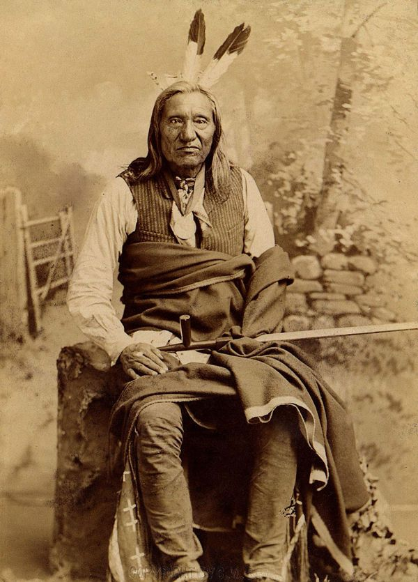 An old photograph of Little Wound aka Ta-oop-che-ka - Oglala Sioux Chief 1891.