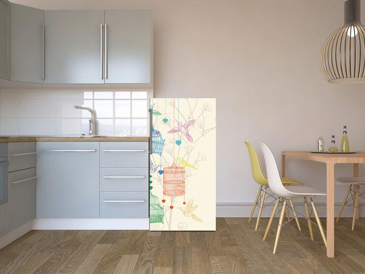 Verspielt modernes design in der küche birdcage vogel design kuelschrank
