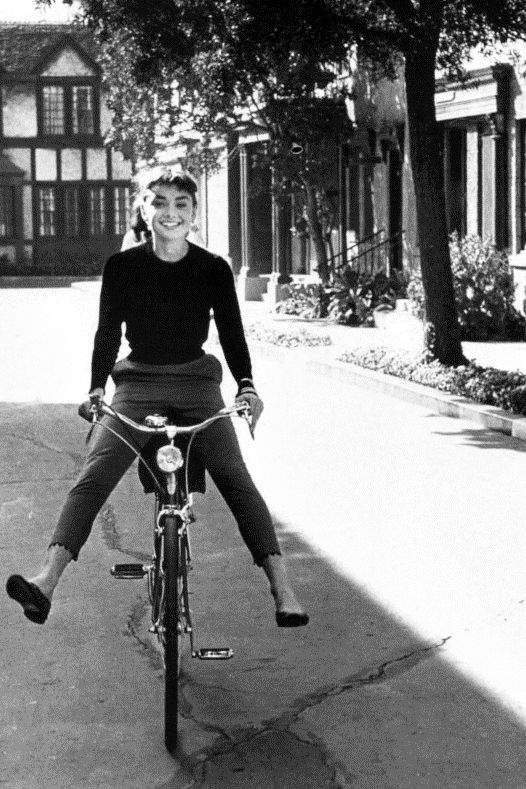 "Audrey Hepburn on the set of ""Sabrina"", 1953  You have to love her."