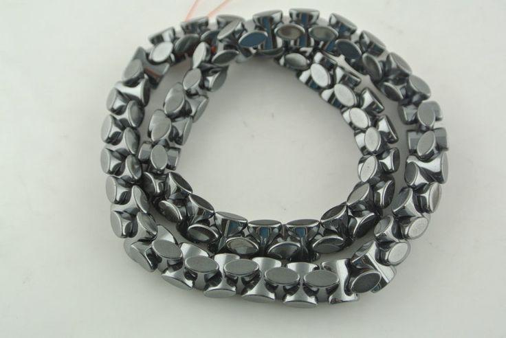 Форма черный гематит жевательная кость форма бусины ювелирные изделия материалы для изготовления 2 Strand / lot
