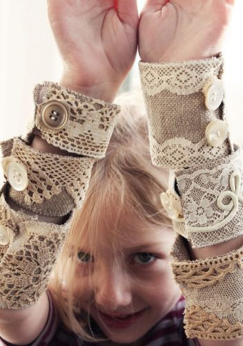 DIY Bracelets: would be pretty using a men's tweed coat as base for lace.