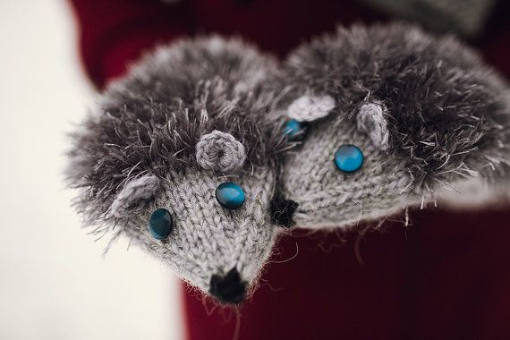 Nice Knited Gray / Light Gray / Black Hedgehogs by NatalieKnit