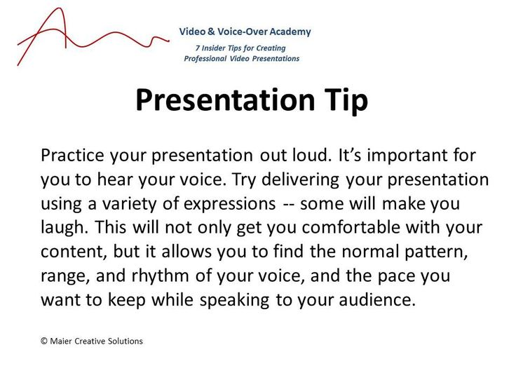 Things to try while practicing your presentations.