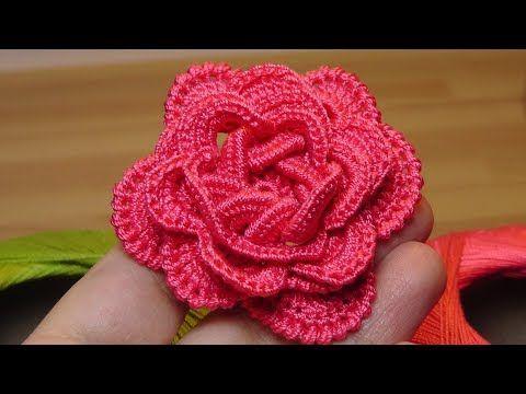 (276) Как связать объёмную РОЗУ крючком - crochet flowers the roses - YouTube
