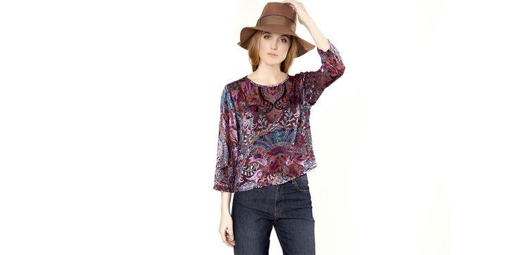 Deboré velvet blouse in burgundy. Lookbook Otoño / Invierno 2013 Lio de Faldas | Lío de Faldas Barcelona