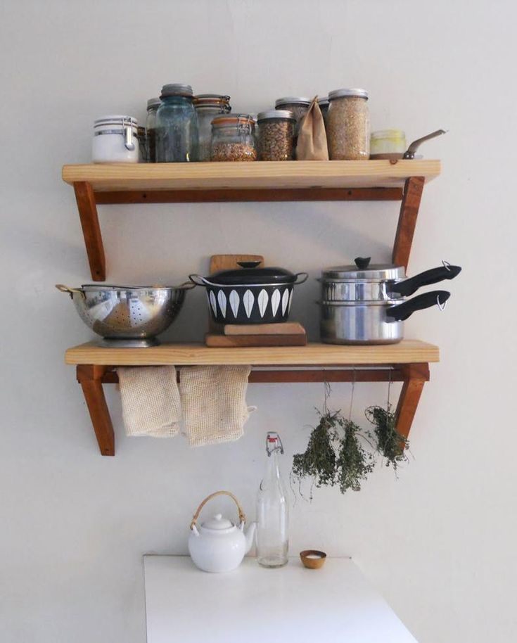 kitchen wood wall shelves