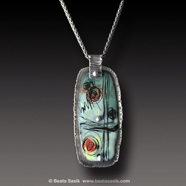 Abstract Enamel Pendant Sterling Silver Necklace with by xaosart