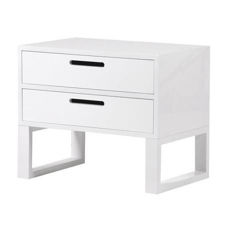 Modern White Gloss 2 Drawer Bedside / Table