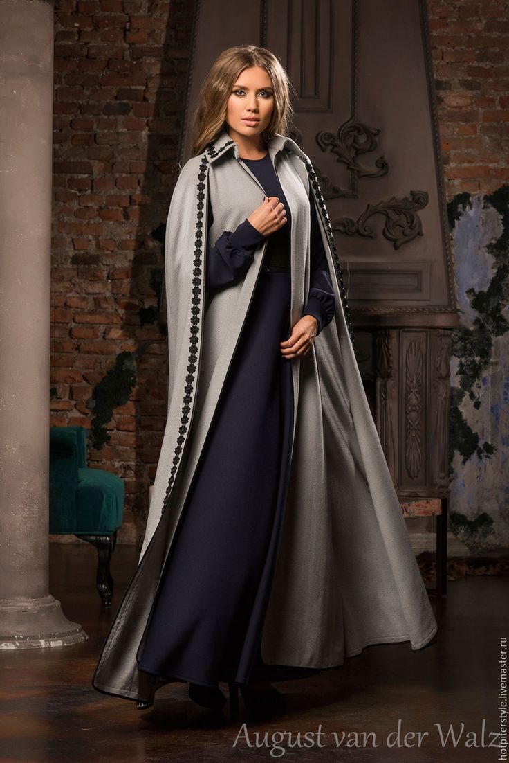 Купить Кейп повседневный макси длиной - разноцветный, однотонный, деловое платье, силуэт, Коктейльное платье