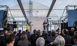 Chernobyl disaster site enclosed by shelter to prevent radiation leaks |  Ukraine's president, Petro Poroshenko, speaks at a ceremony in Chernobyl  |  https://www.theguardian.com/world/2016/nov/29/chernobyl-nuclear-disaster-site-covered-with-shelter-prevent-radiation-leaks-ukraine