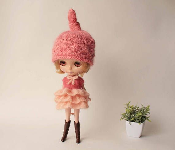 Blythe dress, Coral peach mohair dress for blythe doll from VolnaDollsClother, Hand knitted clothes for 12 inch doll, Mohair outfit for doll