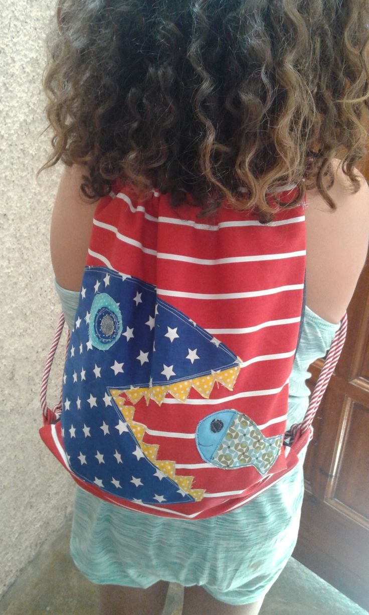Kid's backpack, canvas, shark-fish